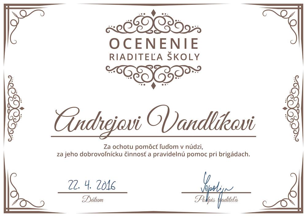 Ocenenie riaditela skoly-Vandlik+podpis